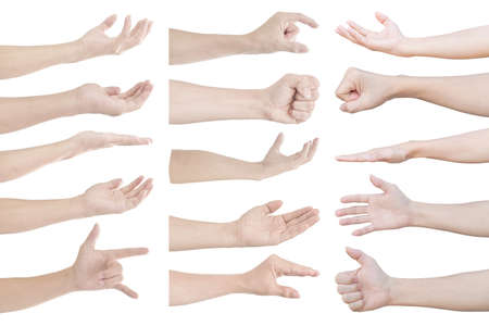 Photo pour collection of hand gesture and sign isolated on white background - image libre de droit