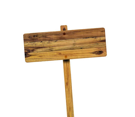 Photo pour Wooden sign isolated on white background. Object with clipping path. - image libre de droit