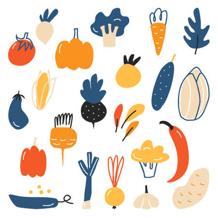 Illustration pour A large variety of vegetables. Cucumber, tomato, corn, eggplant, onion, peas, pepper, broccoli, pumpkin. Healthy organic foods Vegetables isolated on a white background vector - image libre de droit