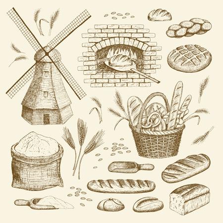Illustration pour Vector hand drawn bakery illustration collection. Windmill, oven, bread, basket, flour, wheat. - image libre de droit
