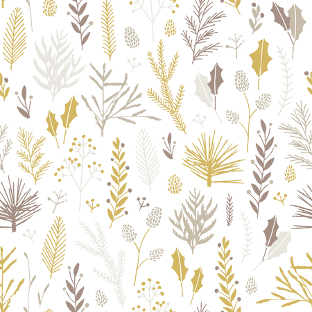 Illustration pour Vector hand drawn floral seamless pattern and backdrop. Elegant plant background. Intricate modern Christmas winter flower illustration set. - image libre de droit