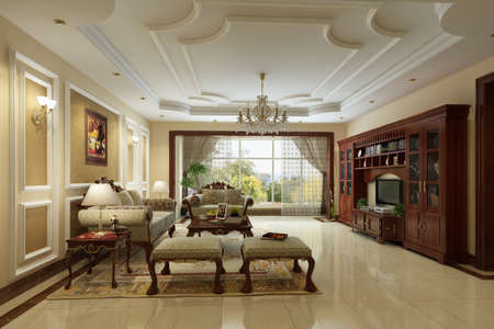 rendering Living room of luxury suite