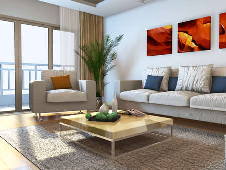 Interior fashionable living-room rendering