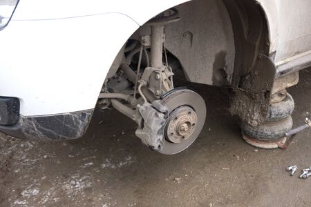 Rear brake system of car. Dise brake and caliper brake on vehicle.