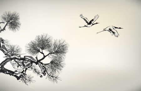 Ink style Pine Tree and birds