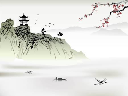 Illustration pour Chinese landscape painting - image libre de droit