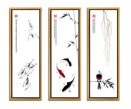 Illustration pour Chinese painting set - image libre de droit