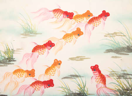 Photo pour Chinese goldfish painting - image libre de droit