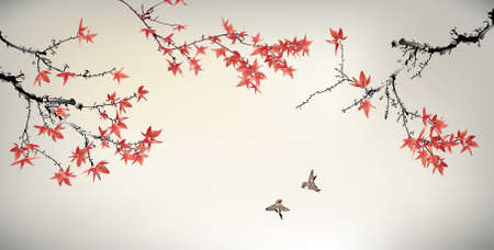 Illustration pour Chinese painting of maple tree and birds - image libre de droit