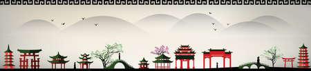 Illustration pour vector landscape of an asia city - image libre de droit