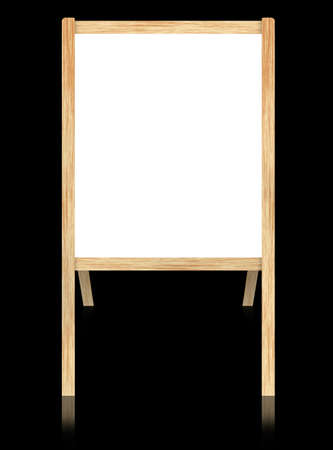 Empty whiteboard with wooden frame isolate on black background.