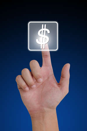 Hand pushing dollar button on touch screen.