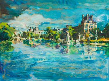 Valuable canvas panorama painting of tourist attraction french castle and lake from paris.