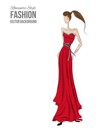 Fashion model. Sketch silhouette. Vector draw model. Vector fashion style. Fashion background. Vintage style background. Bisyness fashion style. Romantic style. Dress sketch. Red dress. Coctale dress.