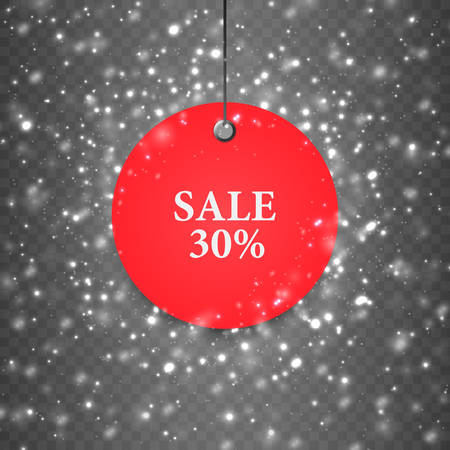 Sale banner on the winter background. Vector holiday sale.