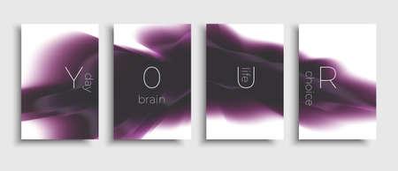 Illustration pour Set of brochure with liquid shapes composition. Vector modern design brochure. Flow abstract design. Purple template. - image libre de droit