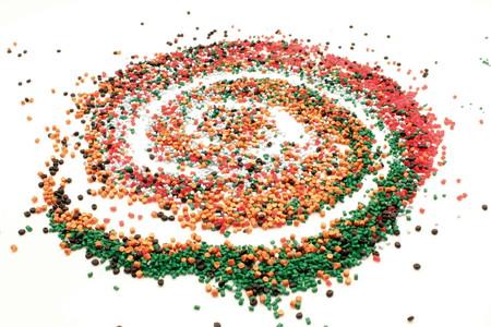 Spiral grain of many designed colored plastic.