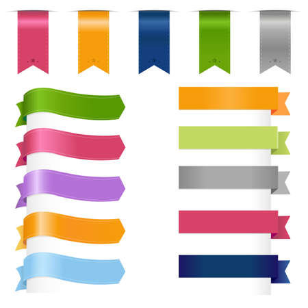 Ribbons Set, Isolated On White Background, Vector Illustration のイラスト素材