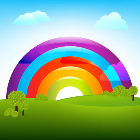 Landscape With Rainbow, Vector Illustration
