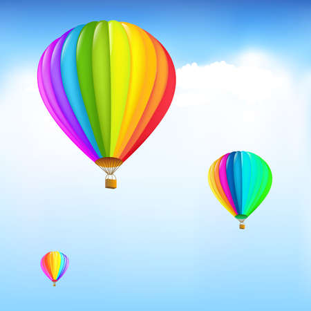 Illustration for 3 Colorful Hot Air Balloons, Vector Illustration - Royalty Free Image