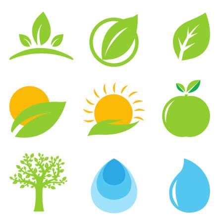 9 Eco Logo, Isolated On White Background