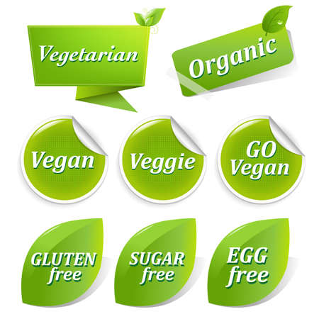 Vegan Food Symbols, Isolated On White Background