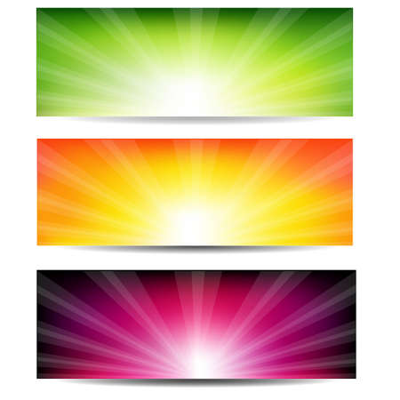 3 Color Sunburst Banners, Isolated On White Background, Vector Illustration