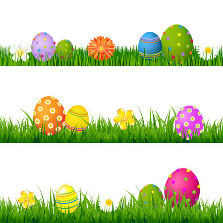 Big Green Grass Set With Flowers And Easter Eggs With Gradient Mesh, Isolated On White Background, Vector Illustration