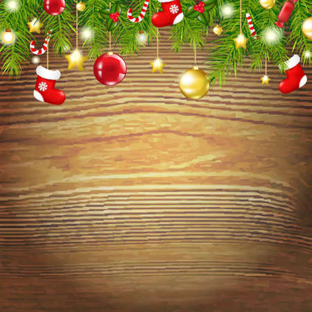Xmas Wood Background With Xmas Toys, With Gradient Mesh, Vector Illustration