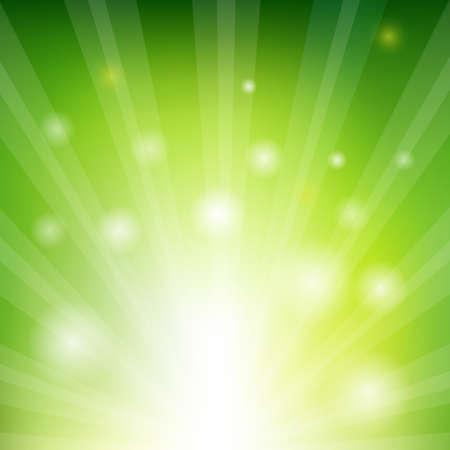 Green Sunburst Xmas With Gradient Mesh, Vector Illustration