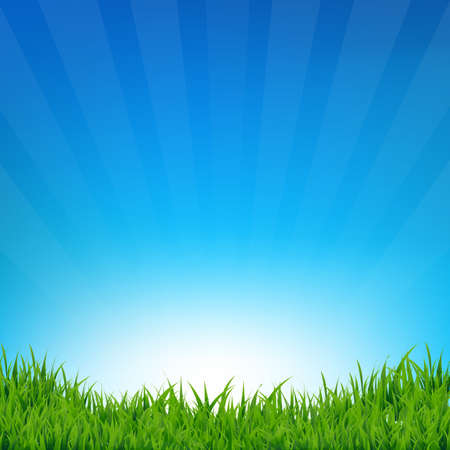 Blue Sky And Grass Sunburst Background With Gradient Mesh, Vector Illustration