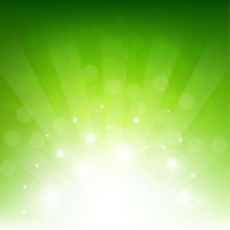 Green Sunburst Eco Background With Gradient Mesh, Vector Illustration