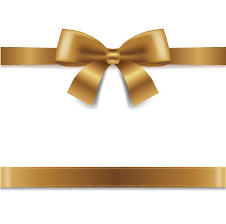 Illustration pour Golden Bow Isolated White Background With Gradient Mesh, Vector Illustration - image libre de droit