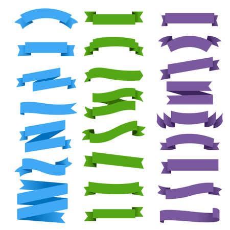 Illustration pour Colorful Ribbon Set White Background, Vector Illustration - image libre de droit