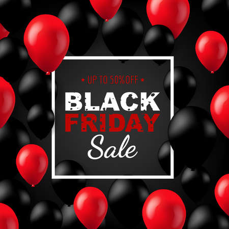 Illustration for Black Friday Poster With Balloons Gradient Mesh, Vector Illustration - Royalty Free Image