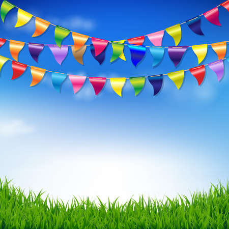 Illustration for Bunting Birthday Flags With Sky And Grass Border With Gradient Mesh, Vector Illustration - Royalty Free Image