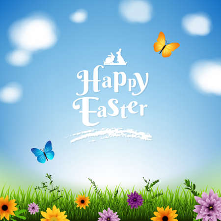 Illustration for Happy Easter Poster With Gradient Mesh, Vector Illustration - Royalty Free Image