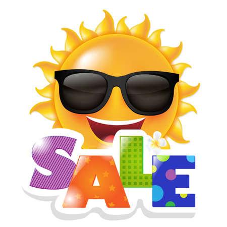 Illustration pour Sun Smile Sale, With Gradient Mesh, Vector Illustration - image libre de droit