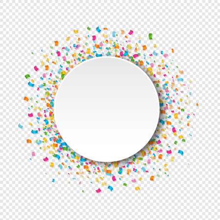 Illustration for White Banner With Confetti Transparent Background With Gradient Mesh, Vector Illustration - Royalty Free Image