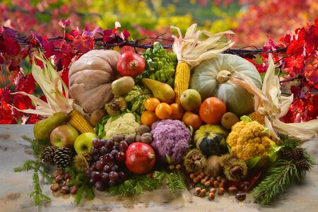 Photo for heap of fruits and vegetables, autumn and winter,  on a wood table with autumn background - Royalty Free Image