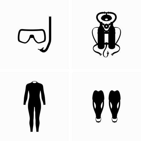 Ilustración de Diving, scuba equipment, wetsuit and fins - Vector - Imagen libre de derechos