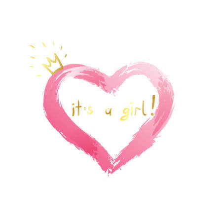 Illustration pour Baby girl birth announcement, baby card design with a pink heart and gold crown and message. It's a girl design for baby shower, t-shirts. - image libre de droit