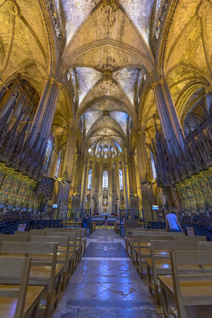 The interior of the Cathedral of Santa Eulalia, also called La Seu or simply Barcelona Cathedral in Barcelona.