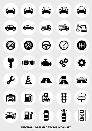 Ilustración de Car-related icon set - Imagen libre de derechos