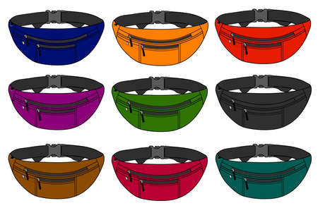 Illustration of fanny pack and color variations.