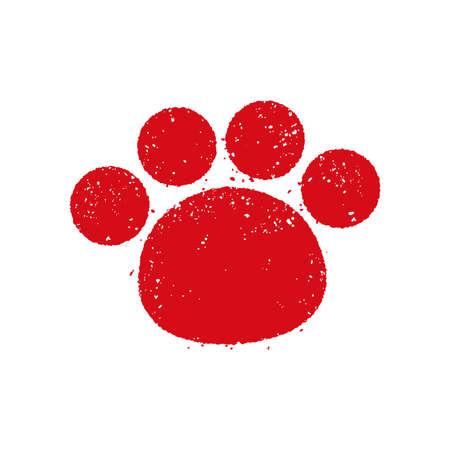Illustration pour Dog footstep greeting stamp mark - image libre de droit