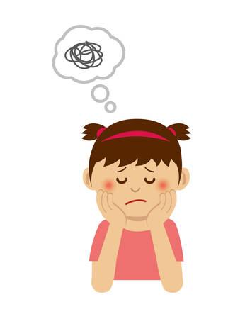 Illustration pour Illustration of thinking or troubled girl. - image libre de droit