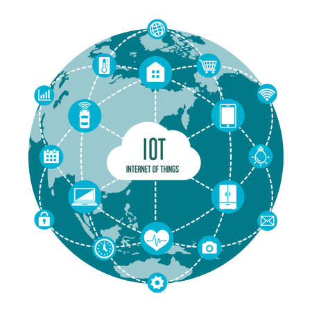 Ilustración de IoT (internet of things) image illustration / earth (blue) - Imagen libre de derechos