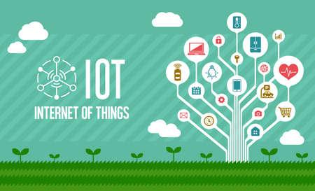 Illustration pour IoT (internet of things) illustration image (tree) - image libre de droit