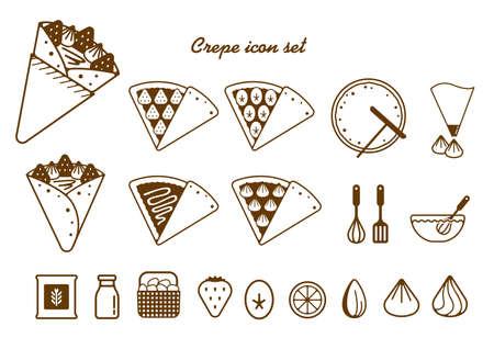Illustration for Crepe illustration icon set - Royalty Free Image
